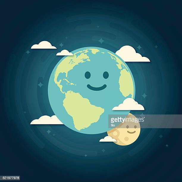 smiling earth and moon - day stock illustrations
