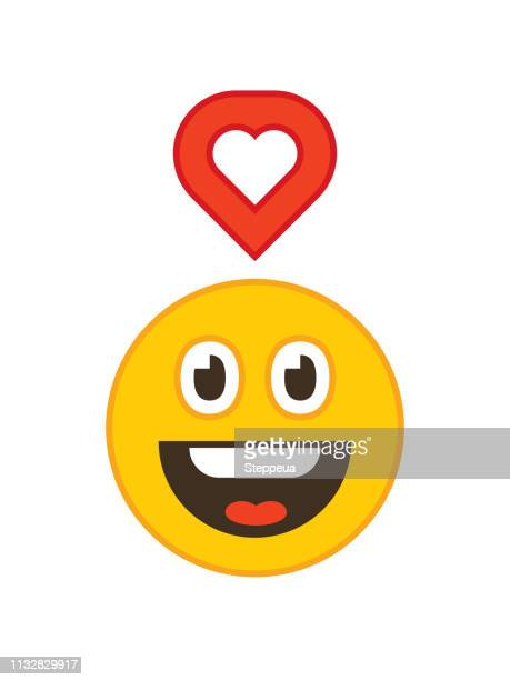 Smiling emoticon and like icon