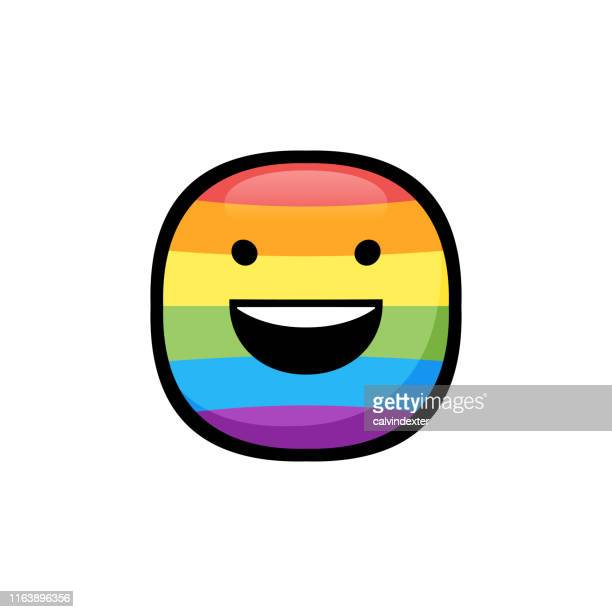 smiling emoticon with rainbow flag colors - marriage equality stock illustrations, clip art, cartoons, & icons