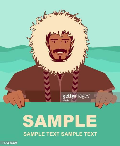 lächelnde eskimo mann mit pelzmantel hält leeres zeichen - inuit stock-grafiken, -clipart, -cartoons und -symbole