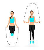 Smiling fit girl doing exercises with jumping rope. Woman in sportswear. Vector character.