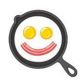 Smiling fried eggs and bacon in skillet