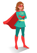 Smiling friendly confident young Caucasian woman in superhero costume and mask standing with folded arms. Vector cartoon character illustration in flat contemporary style isolated on white background.