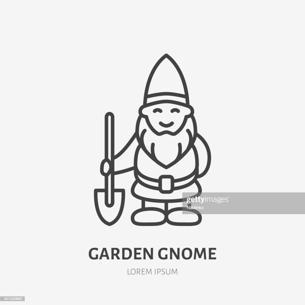 Smiling garden gnome, dwarf flat line icon. Thin linear logo for gardening store