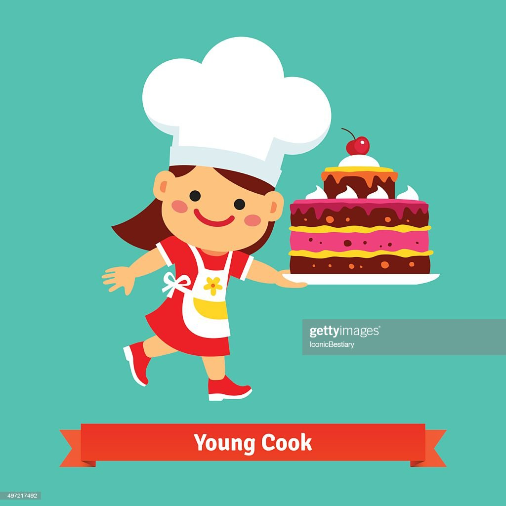 Smiling girl cook holding a big birthday cake