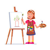Smiling girl kid painting flowers picture sketch with paintbrush on canvas standing on easel holding palette with paints. Flat isolated vector