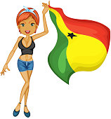 Smiling girl with a national flag of Ghana
