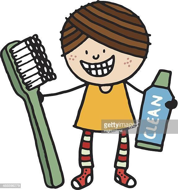 illustrations, cliparts, dessins animés et icônes de souriant fille avec brosse à dents et dentifrice - se brosser les dents