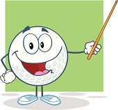 Smiling Golf Ball Holding A Pointer With Background
