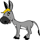 smiling gray baby donkey girl with yellow bangs