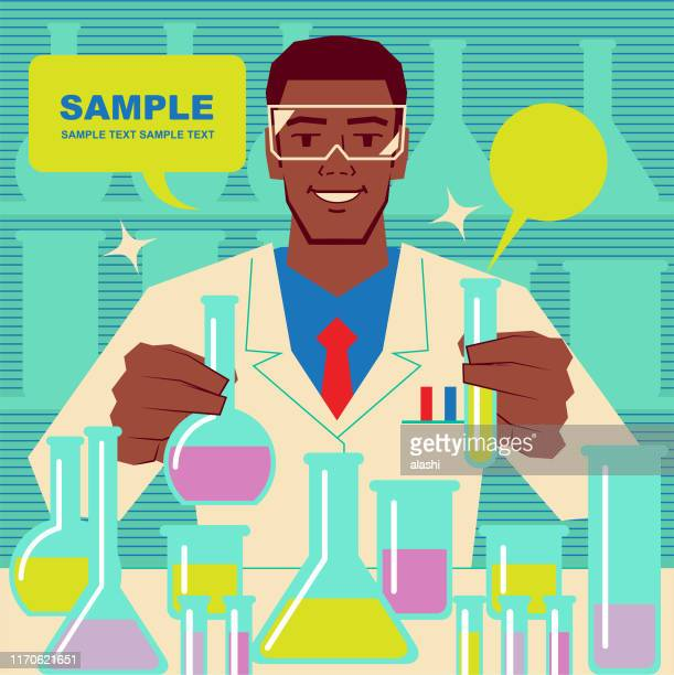 smiling handsome african ethnicity scientist or chemist doing scientific experiment - physicist stock illustrations, clip art, cartoons, & icons