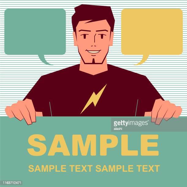 illustrations, cliparts, dessins animés et icônes de concepteur beau de sourire (programmeur d'ordinateur, illustrateur, styliste de mode) retenant le signe blanc - graphiste