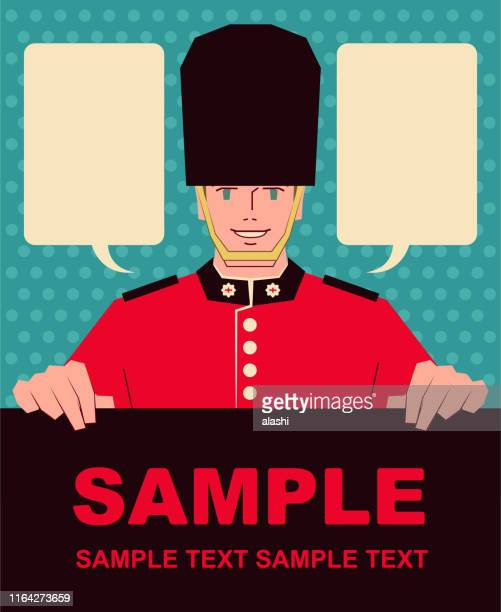 smiling handsome english british royal guard holding blank sign - british culture stock illustrations