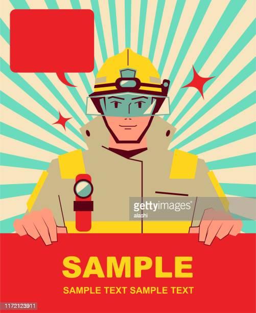 ilustraciones, imágenes clip art, dibujos animados e iconos de stock de sonriendo guapo bombero sosteniendo signo en blanco - incendio forestal