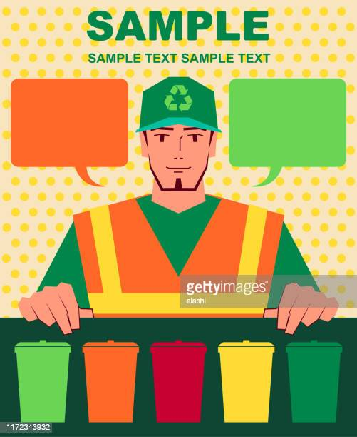 ilustrações de stock, clip art, desenhos animados e ícones de smiling handsome sanitation worker in reflective vest holding an instruction (recycling bin sign) - gari