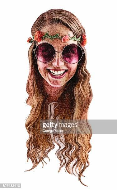 ilustrações, clipart, desenhos animados e ícones de sorrindo, feliz boho hippie jovem mulher. só a cabeça. - human body part