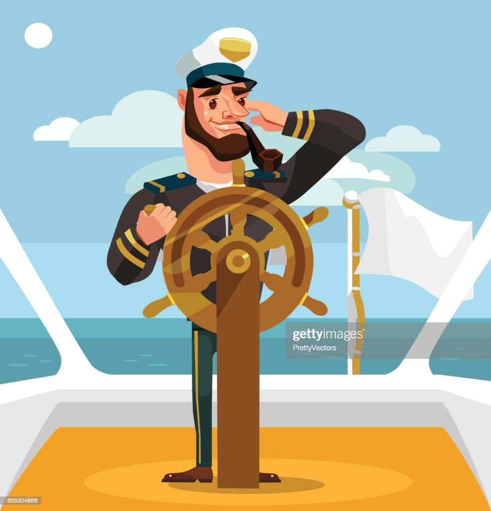 Smiling happy captain character at helm
