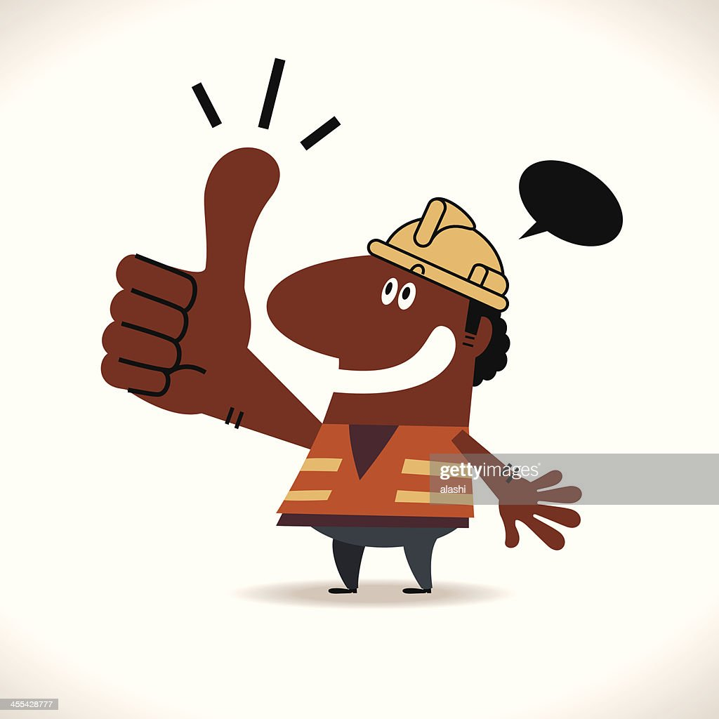 Smiling happy construction(builder) worker with thumbs up hand gesture : stock illustration