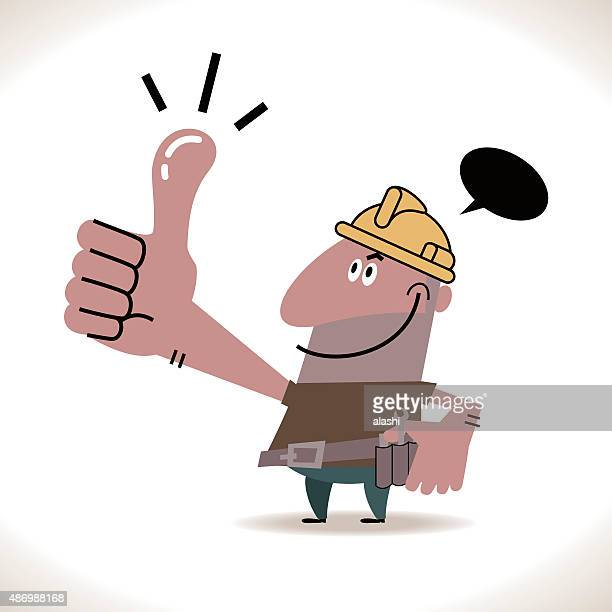 Sonriendo feliz constructor trabajador de la construcción () con los pulgares arriba gesto de mano