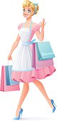 Smiling housewife walking with shopping bags showing OK. Vector illustration.