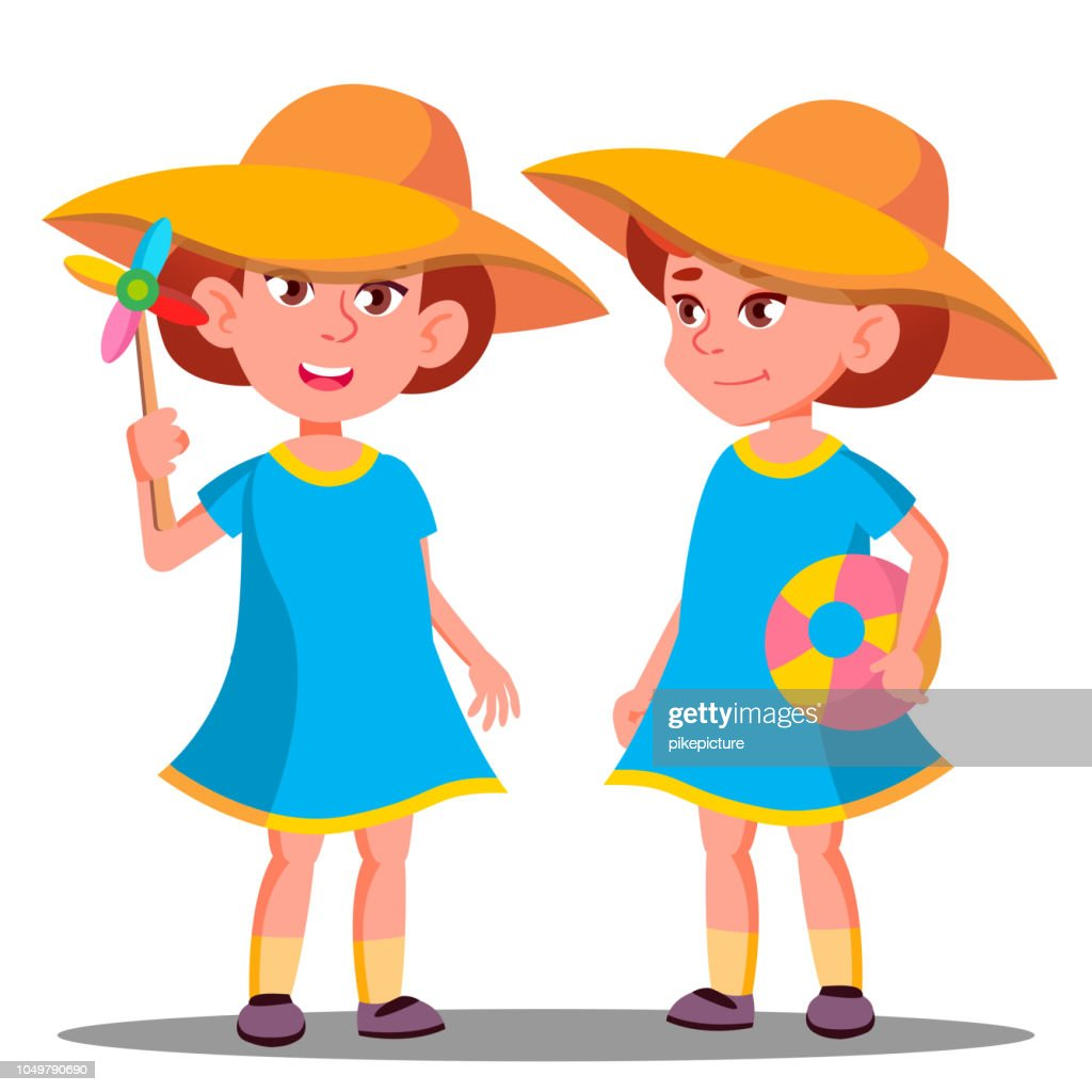 Smiling Little Girl In A Big Hat On The Beach Vector. Isolated Illustration