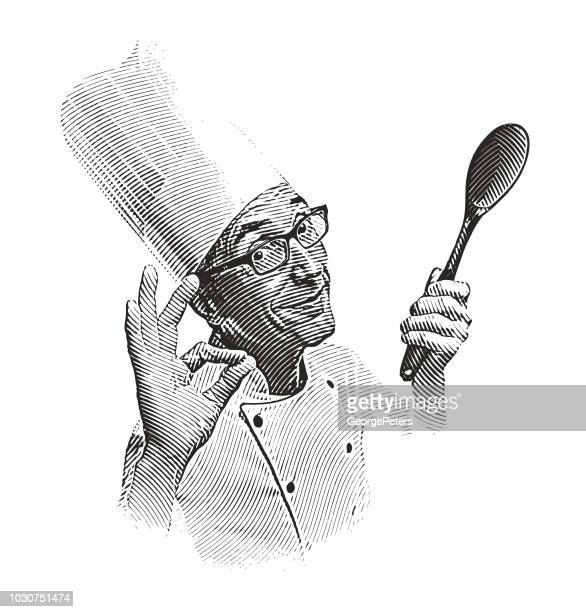 smiling male chef making ok hand sign - stipple effect stock illustrations