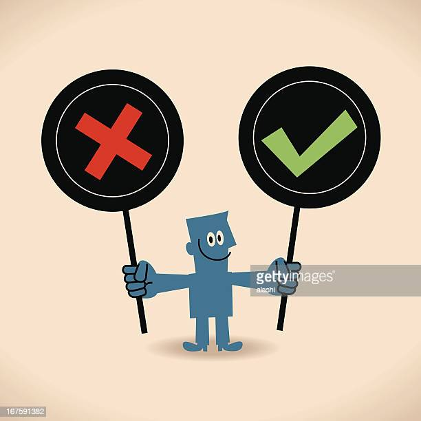 smiling man (businessman) holding right and wrong sign - deterioration stock illustrations