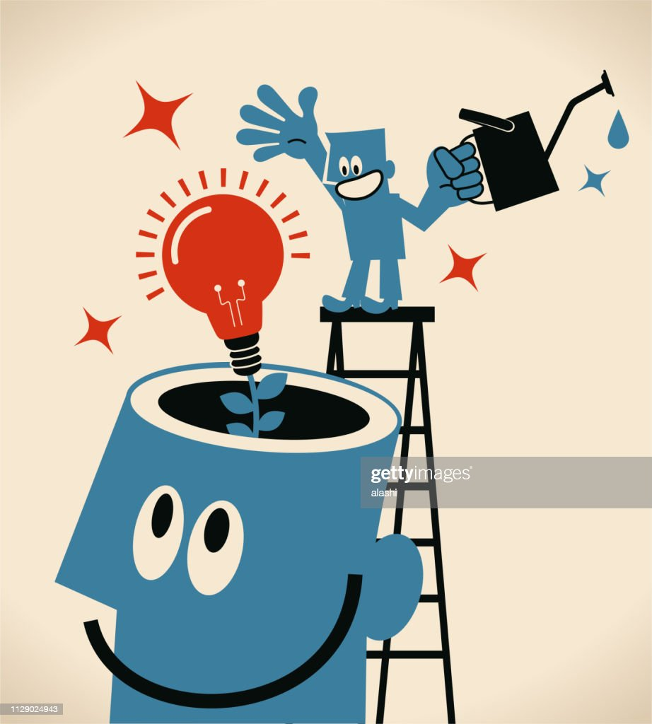 Smiling man on top of ladder watering an idea light bulb growing from giant man open head : Stock Illustration