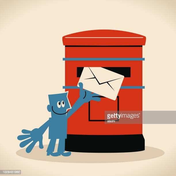 ilustraciones, imágenes clip art, dibujos animados e iconos de stock de sonriente hombre poniendo un sobres en un buzón público, envío de correo o postal - carta de amor