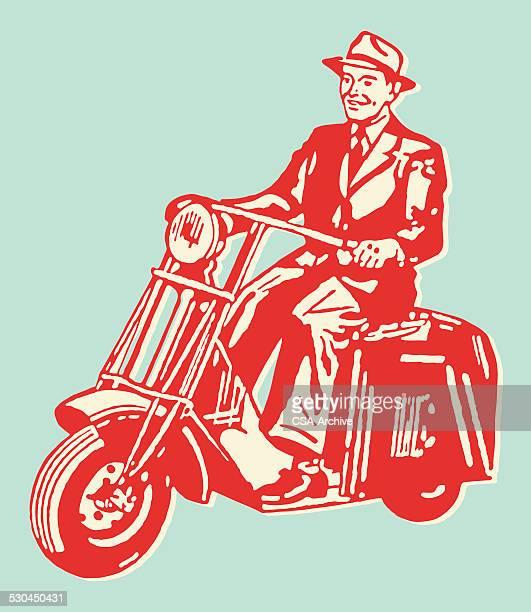 smiling man riding motorbike - moped stock illustrations, clip art, cartoons, & icons