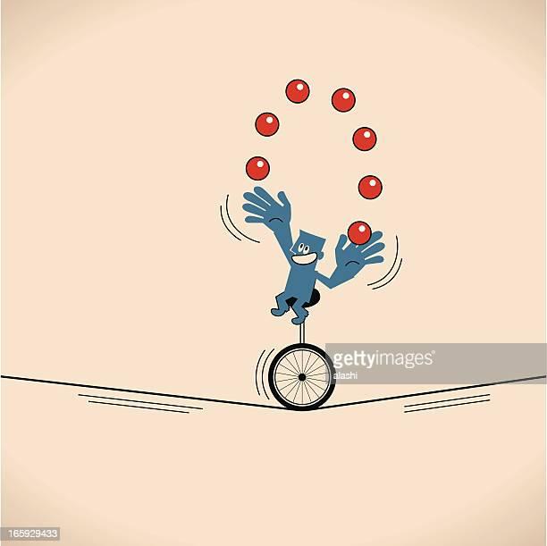 smiling man (businessman), unicycle juggling balls - juggling stock illustrations, clip art, cartoons, & icons