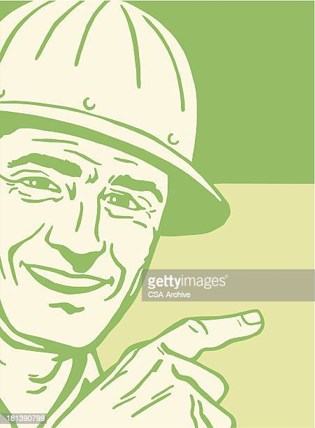 smiling man wearing a hard hat - contractor stock illustrations, clip art, cartoons, & icons