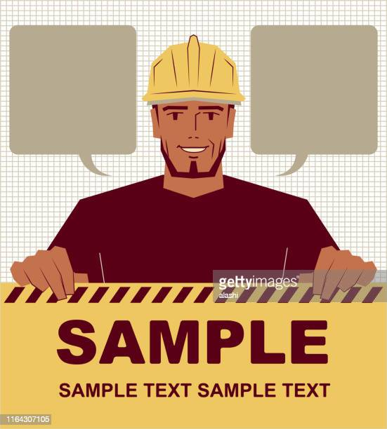 smiling manual worker holding blank sign - may day international workers day stock illustrations