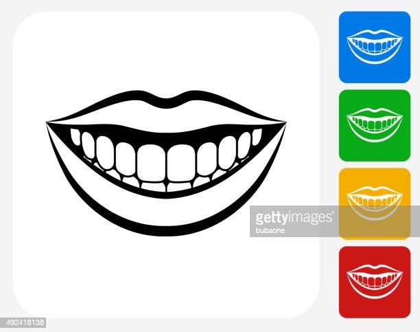 Smiling Mouth Icon Flat Graphic Design