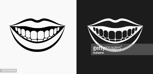 smiling mouth icon on black and white vector backgrounds - mouth stock illustrations, clip art, cartoons, & icons