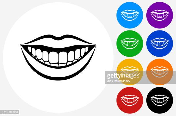 Smiling Mouth Icon on Flat Color Circle Buttons