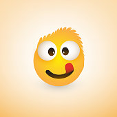 Smiling, Mouth Licking Emoji