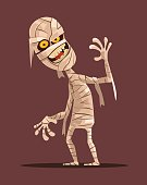 Smiling mummy character walking