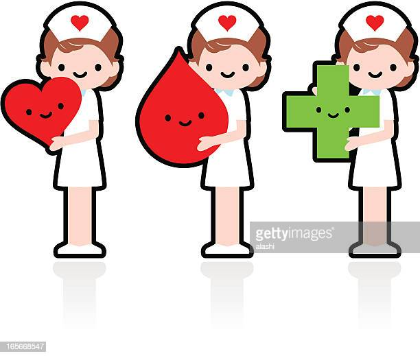ilustraciones, imágenes clip art, dibujos animados e iconos de stock de sonriente enfermera mostrando amor corazón, de la donación de sangre - asistente de enfermera