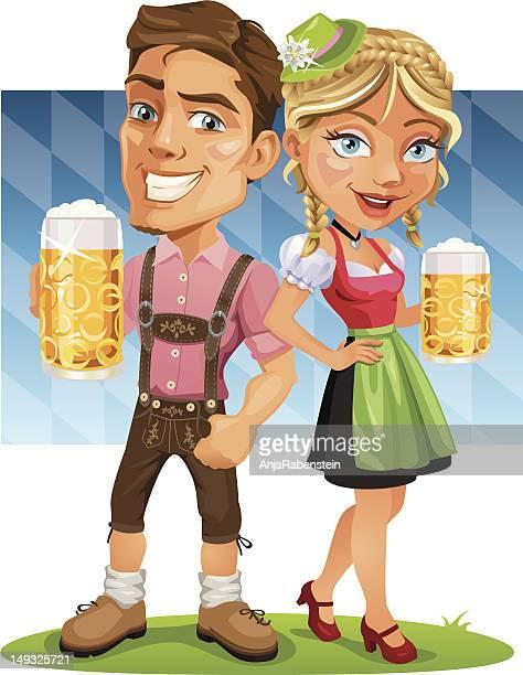 ilustrações, clipart, desenhos animados e ícones de sorridente casal segurando uma cerveja oktoberfest com bandeira da bavária - roupa tradicional