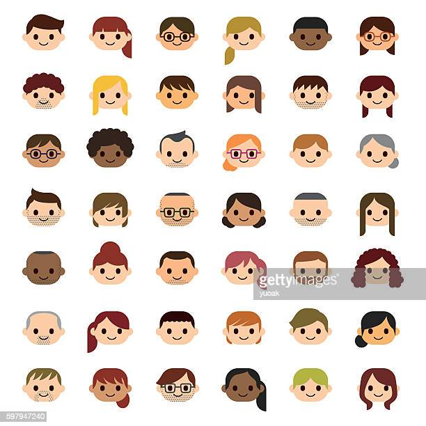 smiling people icons - adult stock illustrations, clip art, cartoons, & icons