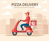 Smiling pizza delivery courier. Food courier on red retro scooter with trunk case box. Pizza delivery. Cartoon character design. Flat vector illustration on city landscape background