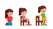 Smiling preschool girls kneeling, sitting and standing up from chair. Happy kid cartoon characters set. Flat vector clipart illustration.