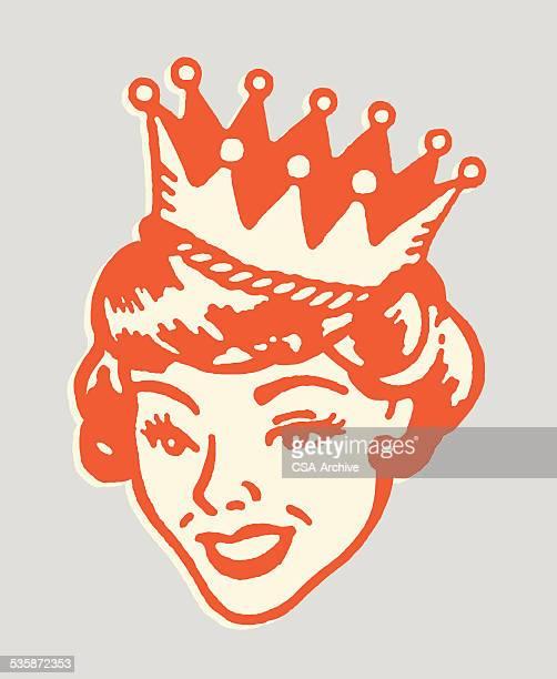 ilustraciones, imágenes clip art, dibujos animados e iconos de stock de sonriendo cama queen - reina de belleza
