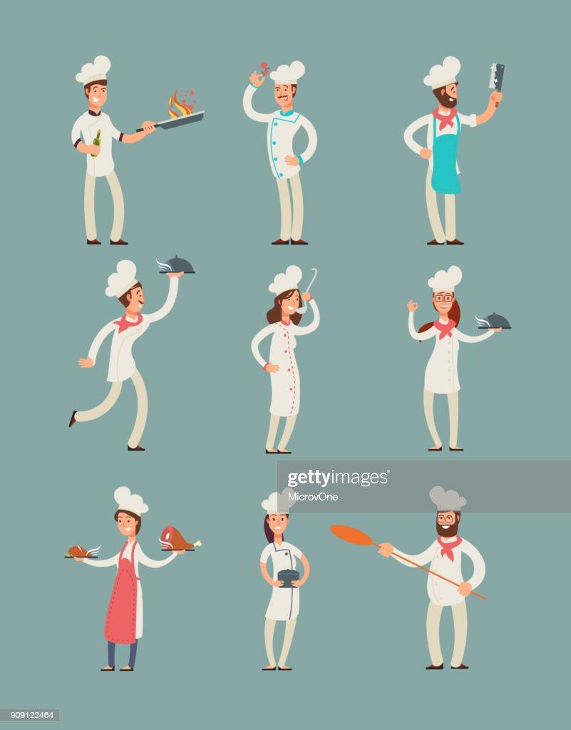 Smiling restaurant chefs, professional cooks in kitchen uniform vector cartoon characters set
