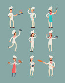 Smiling restaurant chefs, professional cooks in kitchen uniform vector cartoon characters set