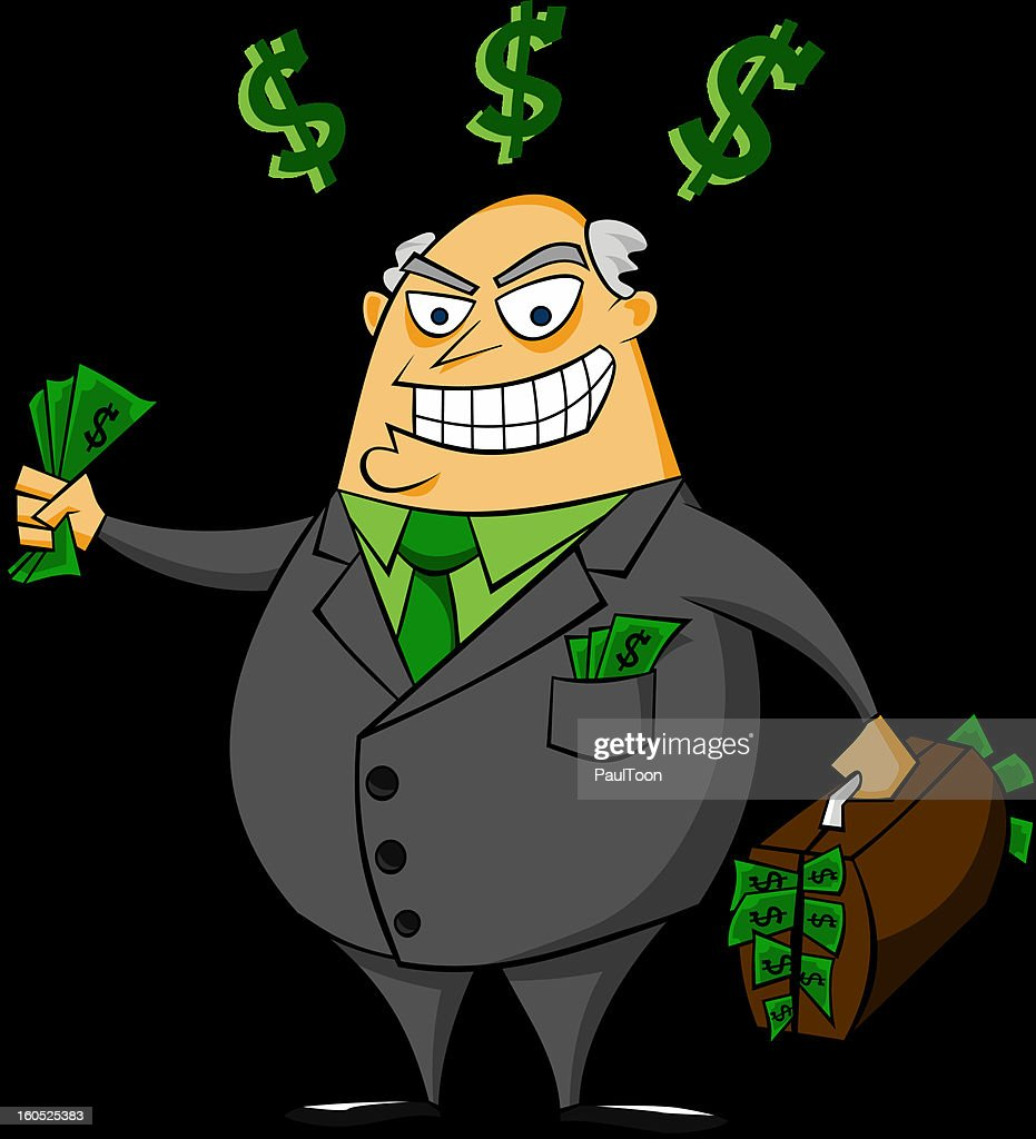Smiling rich businessman with money vector