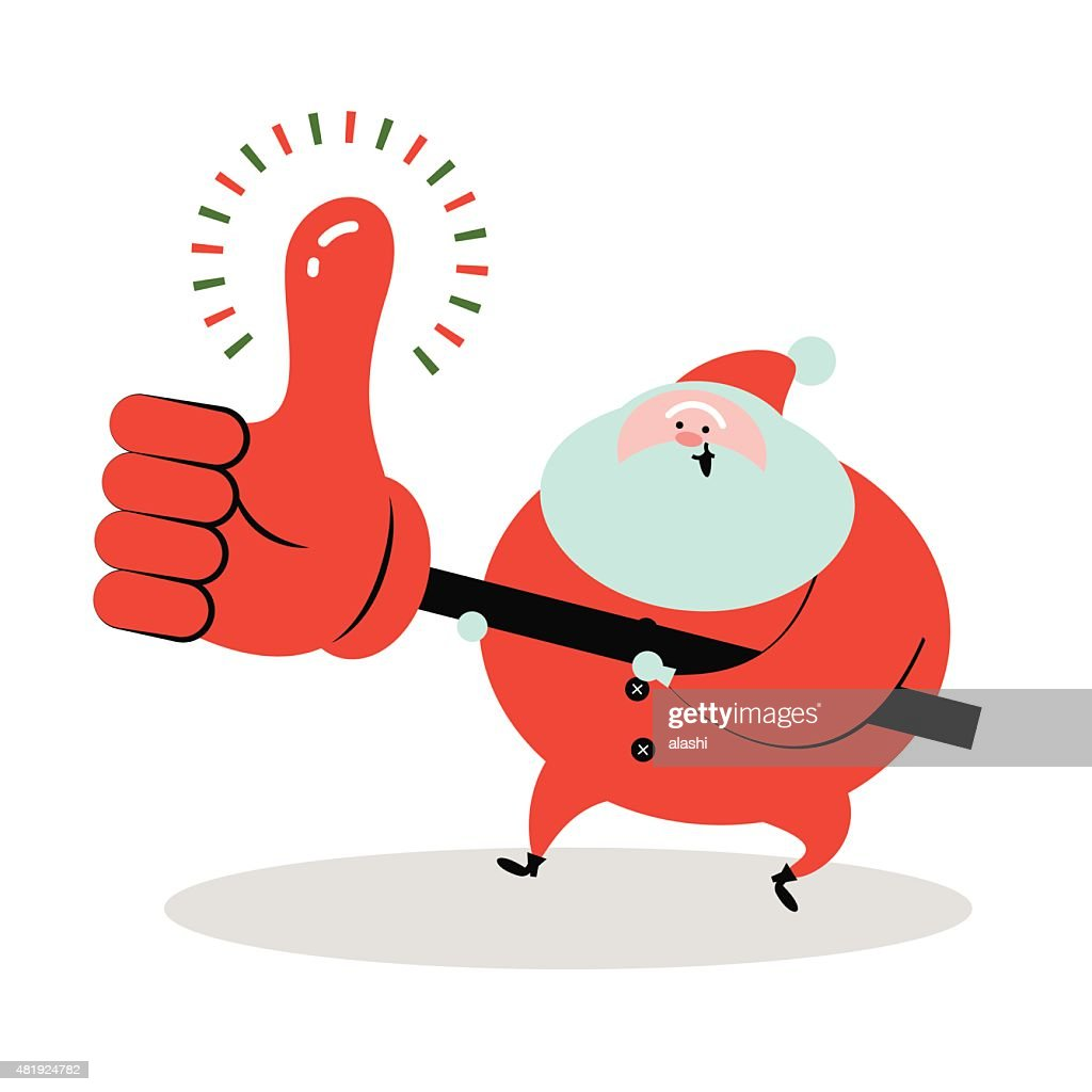smiling santa claus holding big thumbs up sign vector art getty images
