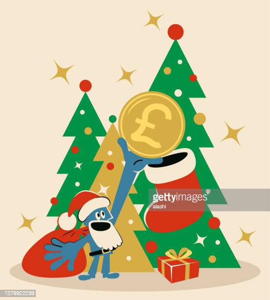 smiling santa claus is putting british pound currency in christmas stocking; merry christmas and new year greeting - christmas cash stock illustrations