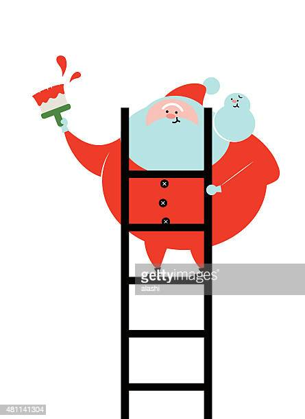 Smiling Santa Claus painter standing on ladder painting with brush